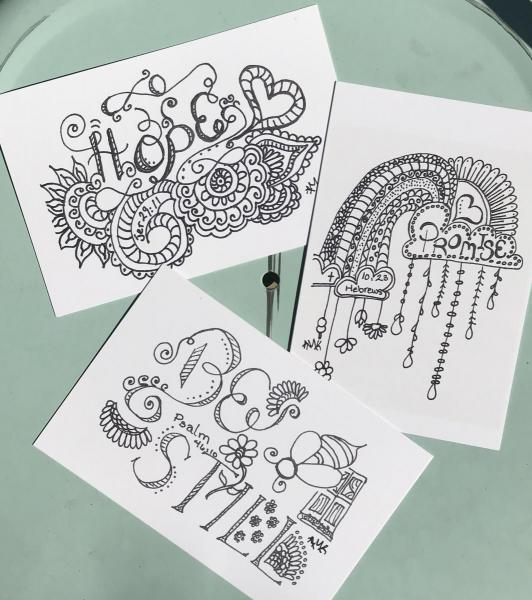 Mixed Hope, Promise, Be Still Scribbling Postcards -6 Line Art Postcards to Color and Mail- Greeting and Word of Encouragement Coloring Card