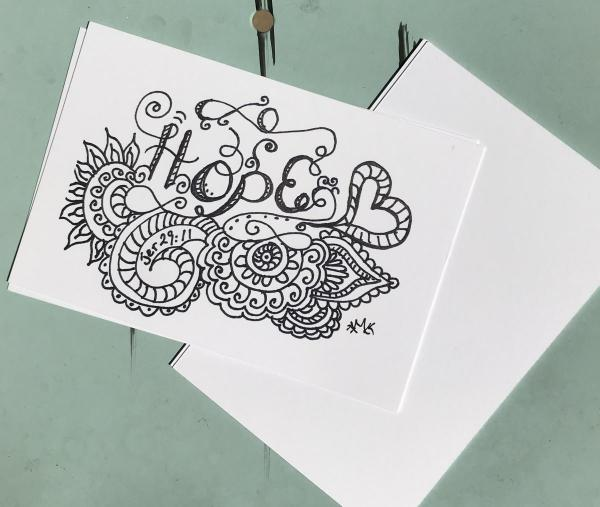 Hope Postcards -6 Line Art Postcards to Color and Mail- Greeting and Word of Encouragement Coloring Card