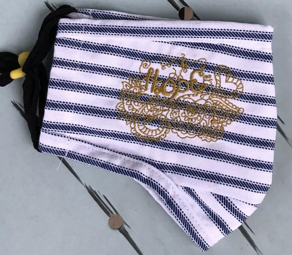 Face Mask - Hope Blue and White with Gold Embroidery - 2 Layer Breathable Washable  - nose wire included