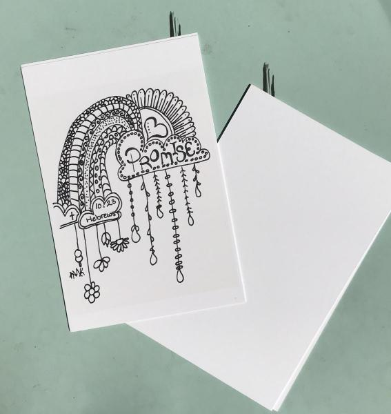 Promises Postcards -6 Line Art Postcards to Color and Mail- Greeting and Word of Encouragement Coloring Card