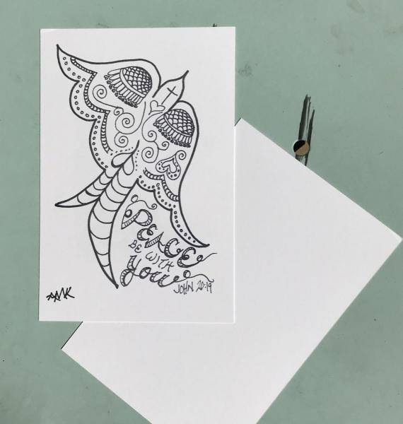 Peace Postcards -6 Line Art Postcards to Color and Mail- Greeting and Word of Encouragement Coloring Card