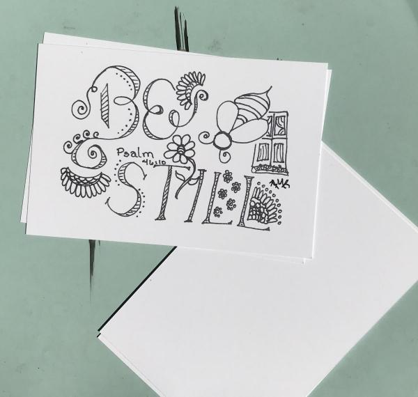 Be Still Postcards -6 Line Art Postcards to Color and Mail- Greeting and Word of Encouragement Coloring Card