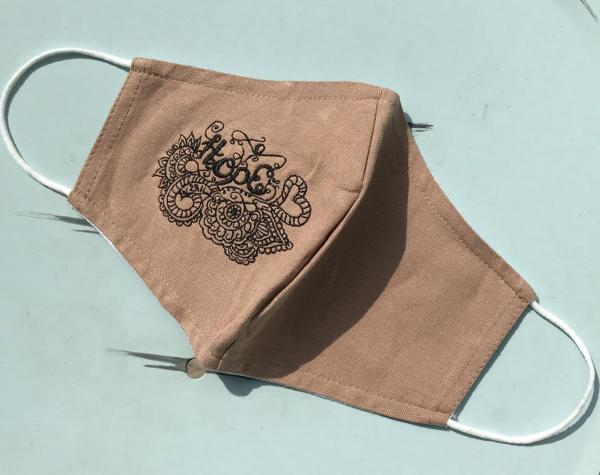 Face Mask - Hope Khaki Tan with Black Embroidery - 2 Layer Breathable Natural Washable Linen - nose wire optional included