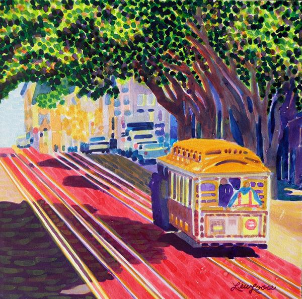 "Original watercolor painting - 12""x12"" - Trolley Love"