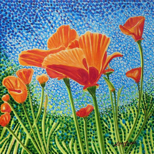 "Watercolor canvas print - 12""x12"" - ""Poppy Swaying"""