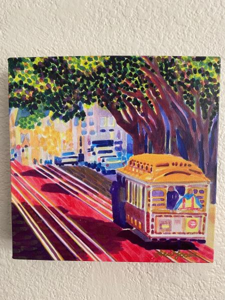 "Watercolor Canvas Gallery Wrap Print - 8""x8"" - ""Trolley Love"""