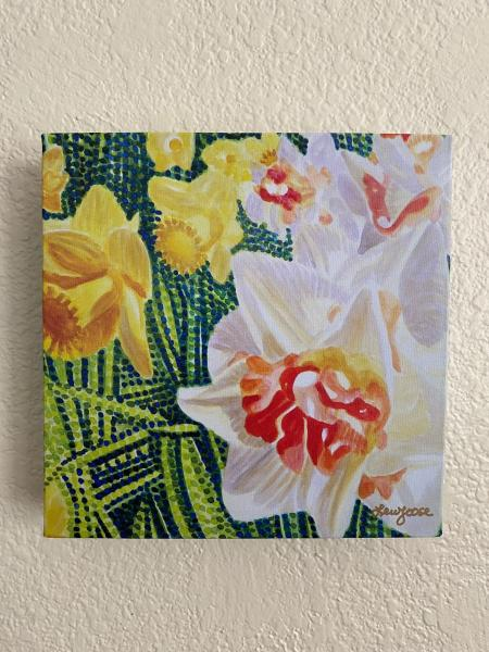 "Watercolor Canvas Gallery Wrap Print - 8""x8"" ""Daffodil"""