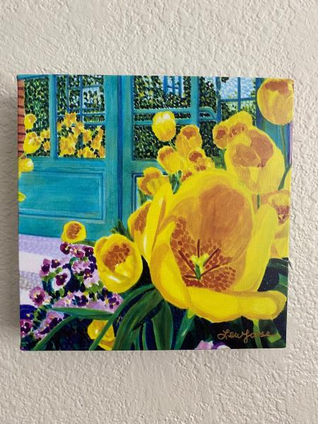 "Watercolor Canvas Gallery Wrap Print - 8""x8"" ""Tulip - Yellow Lips"""
