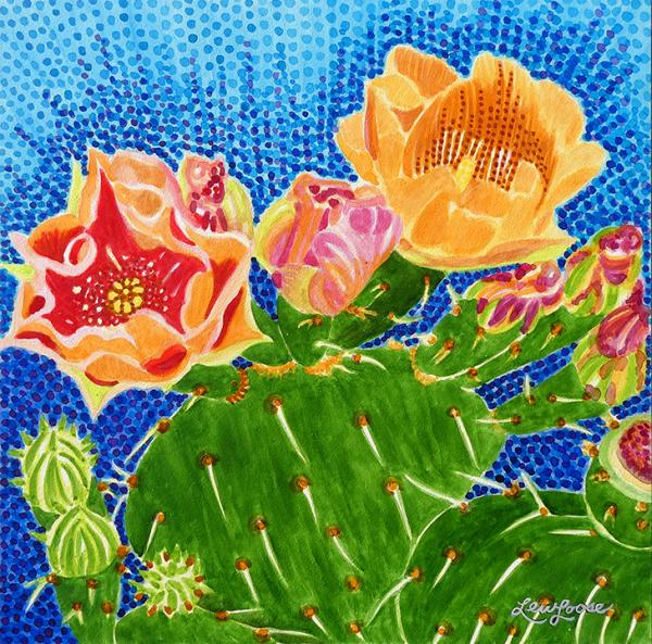"Watercolor Canvas Gallery Wrap Print - 8""x8"" - ""Beavertail Prickly Pear Cactus"""