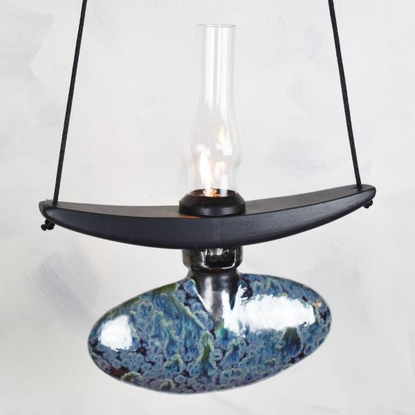 Oval Lamp in Obsidian Black with Glass Chimney picture