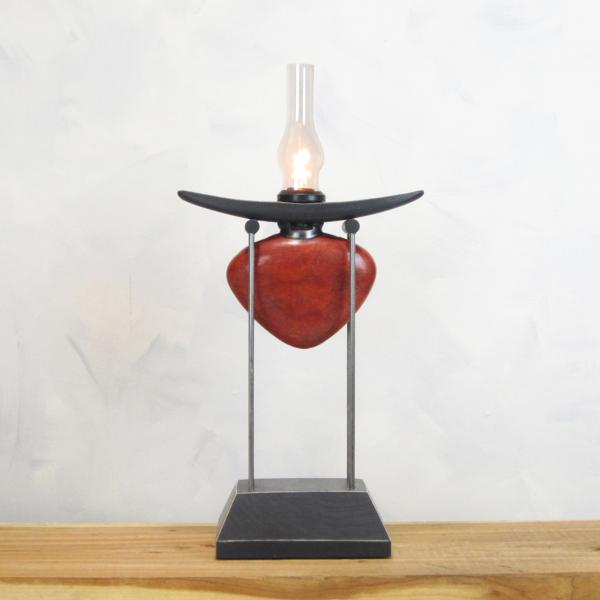 "Pedistal Lamp- Red ""Heart"" with glass chimney"