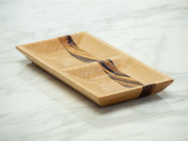 Curly Maple and Zebrawood Jewelry Dish, Valet Tray