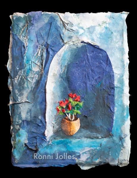 Blue with Flowers - Original work by Ronni Jolles