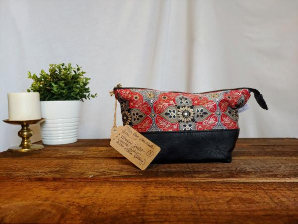 Upcycled Carry-All Pouch | Metallic Red Mandala