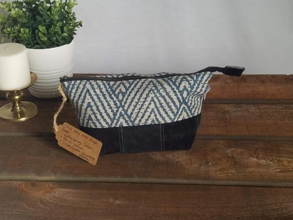 Upcycled Carry-All Pouch | Blue Diamonds & Faux Suede