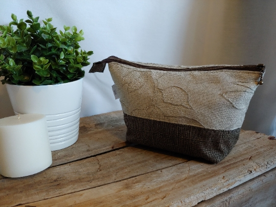 Upcycled Carry-All Pouch | Woven Floral & Checked Wool