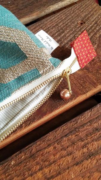 MEDIUM Upcycled Carry-All Pouch | Geometric Teal & Rust picture