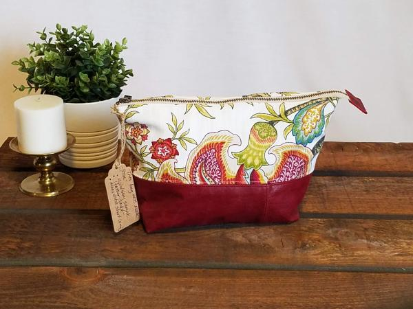 MEDIUM Upcycled Carry-All Pouch | Boho Summer Flowers & Leather