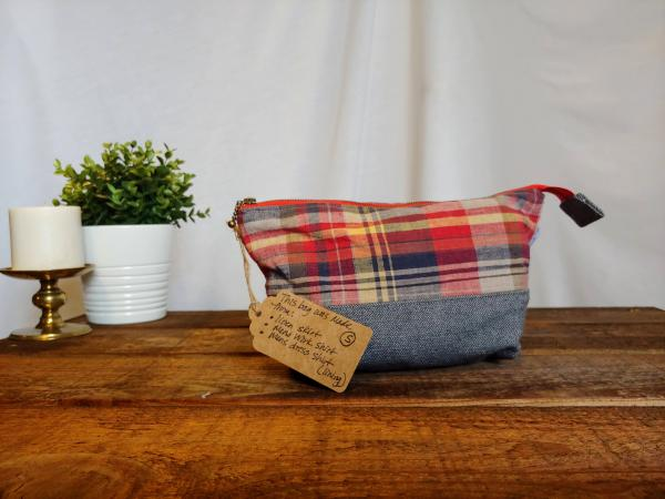 Upcycled Carry-All Pouch | Red Plaid & Linen
