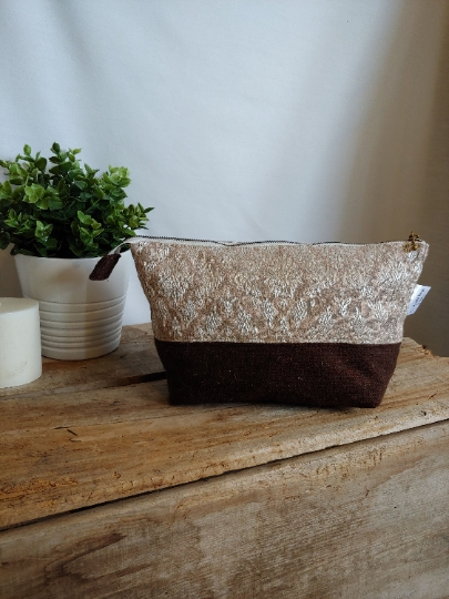Upcycled Carry-All Pouch | Vintage Baroque Curtain & Wool