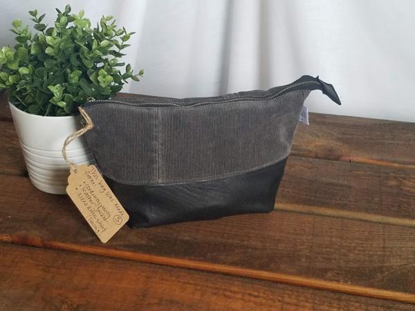 Upcycled Carry-All Pouch | Unisex Corduroy & Leather