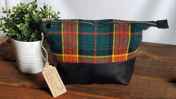 Upcycled Carry-All Pouch | Autumnal Plaid & Leather