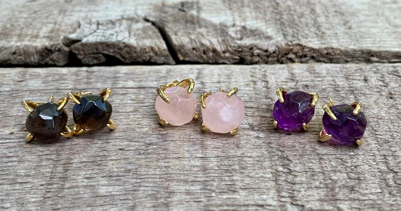 Round Faceted Amazonite Rose Quartz or Amethyst Gold Plated Prong Stud Earrings