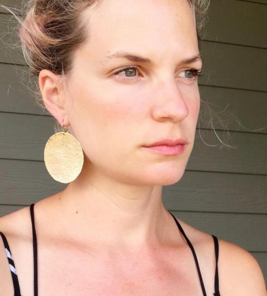 Large Geometric Circle Hammered Texture Gold Brass Statement Earrings
