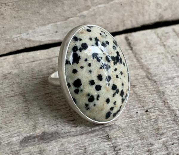 Large Oval Dalmatian Jasper Black and Off White Spotted Sterling Silver Statement Ring picture