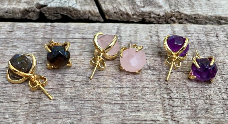 Round Faceted Amazonite Rose Quartz or Amethyst Gold Plated Prong Stud Earrings picture