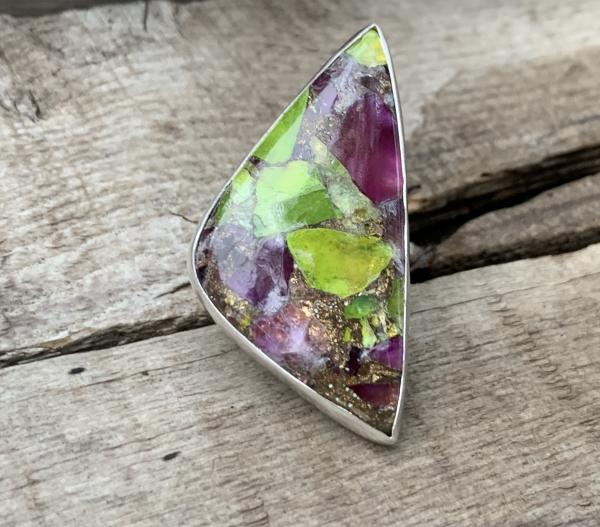 Stunning Large Triangle Prehnite Amethyst Copper Turquoise Sterling Silver Statement Ring with Hand Hammered Ring Band
