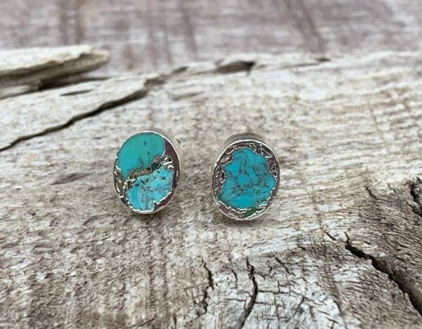 Tibetan Turquoise SIlver Dipped Stud Earrings | Turquoise Earrings | Turquoise Studs | December Birthstone