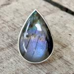 Stunning One of a Kind Purple Flash Labradorite Sterling Silver Statement Ring