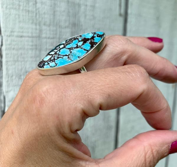 Large Free Form Geometric Light Blue and Black Tibetan Turquoise Sterling Silver Ring picture
