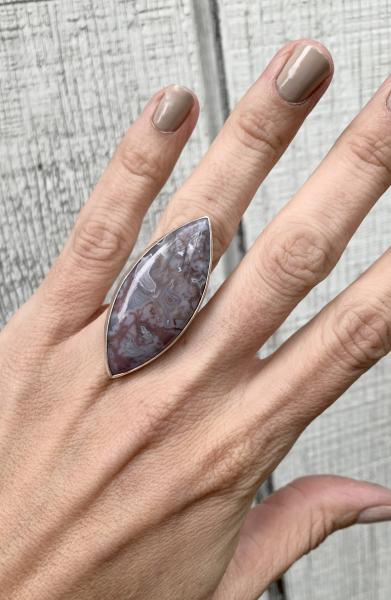 Large Marquise Pink Lilac White Moss Opal Agate Sterling Silver Ring with Hammered Ring Band picture