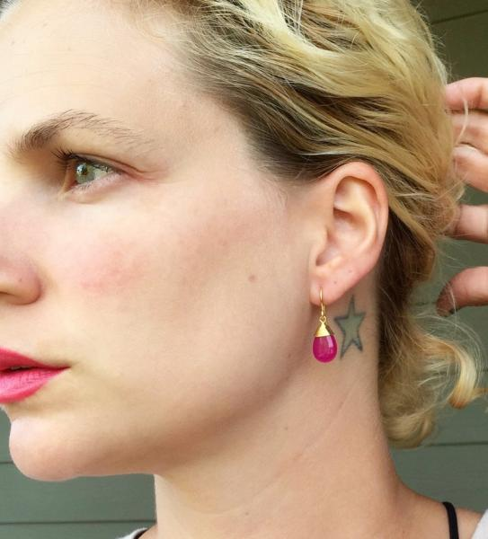 Dainty Elegant Fuchsia Pink Jade Gold Plated or Rhodium Plated Wire Wrapped Dangle Gold Earrings