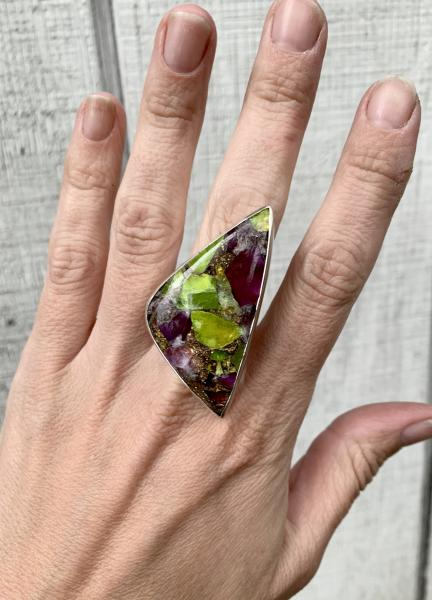Stunning Large Triangle Prehnite Amethyst Copper Turquoise Sterling Silver Statement Ring with Hand Hammered Ring Band picture