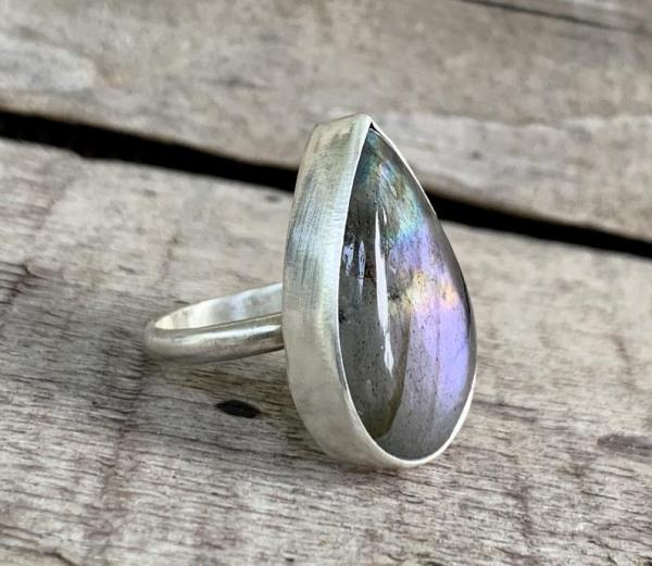Stunning One of a Kind Purple Flash Labradorite Sterling Silver Statement Ring picture