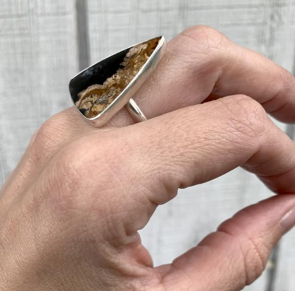 Geometric Triangle Petrified Palm Wood Sterling Silver Statement Ring picture