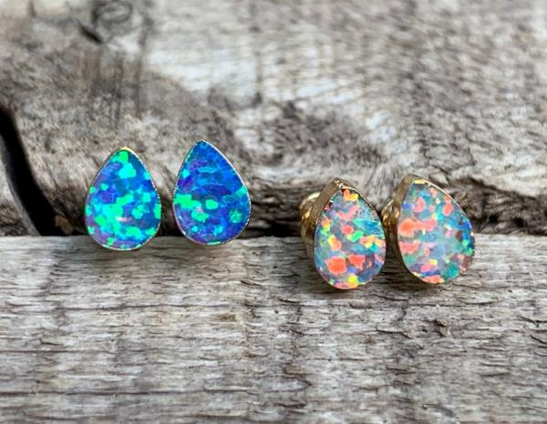 Small Teardrop Luminescent Opal Gold or Silver Earrings | Opal Earrings