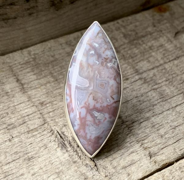 Large Marquise Pink Lilac White Moss Opal Agate Sterling Silver Ring with Hammered Ring Band