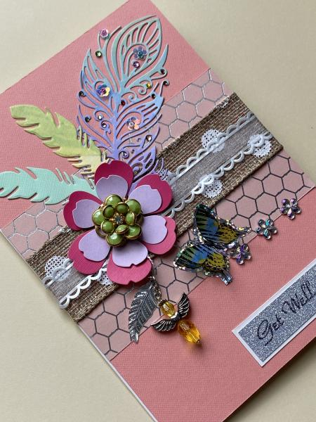Get Well Card with Flower Pin & Angel Bead picture