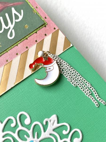 Holiday Greetings w/ Half Moon Santa Charm picture