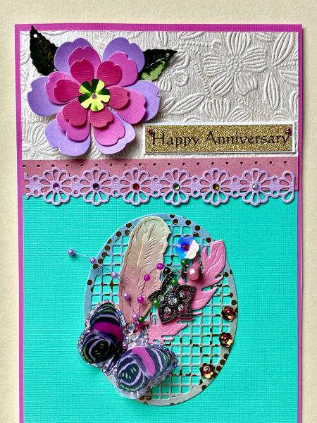 Anniversary Card with Lotus Flower Charm