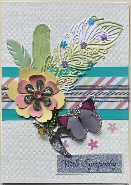 Sympathy Card with Wings & Bead Charm