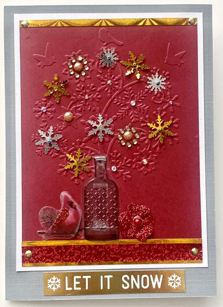 Christmas Card  with Clear Bottle Sticker
