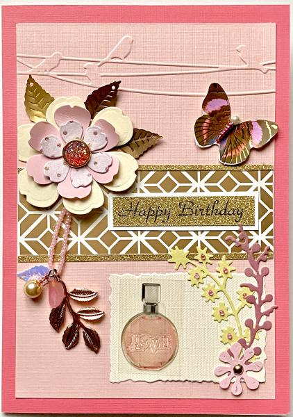 Birthday Card w/ Leaf Charm & Perfume Sticker