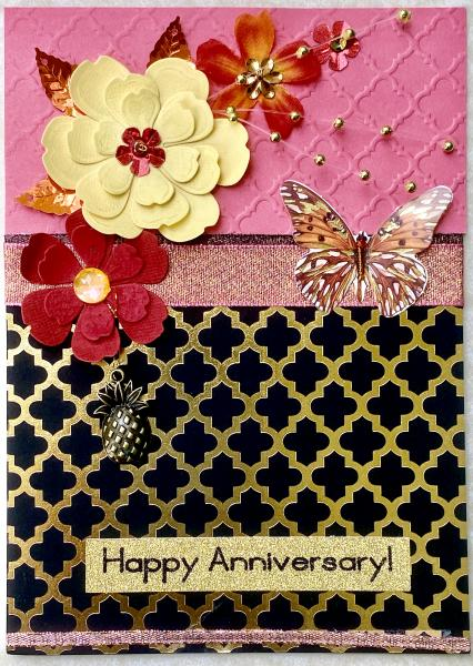 Anniversary Card with Antique Pineapple Charm