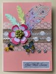 Get Well Card with Flower Pin & Angel Bead