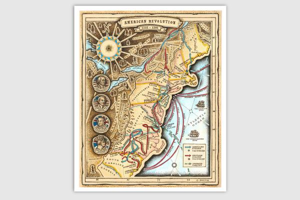 American Revolution Map Giclee Prints